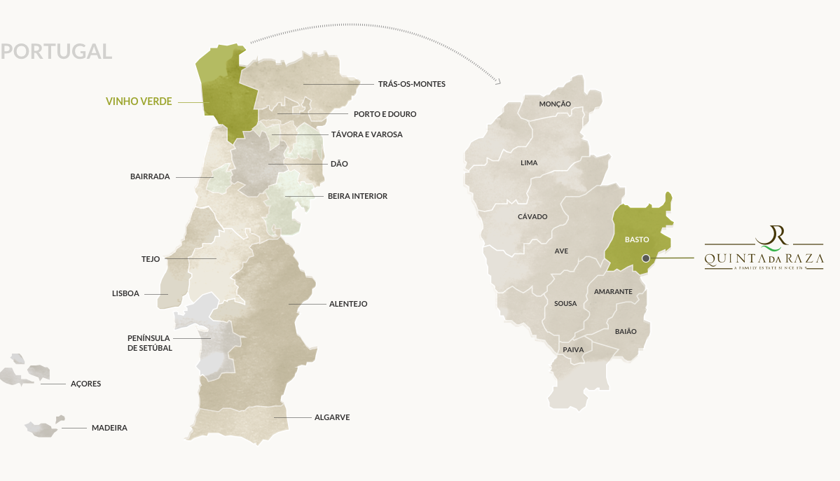 Map of the Vinho Verde Region and the Basto subregion, the home of Quinta da Raza.